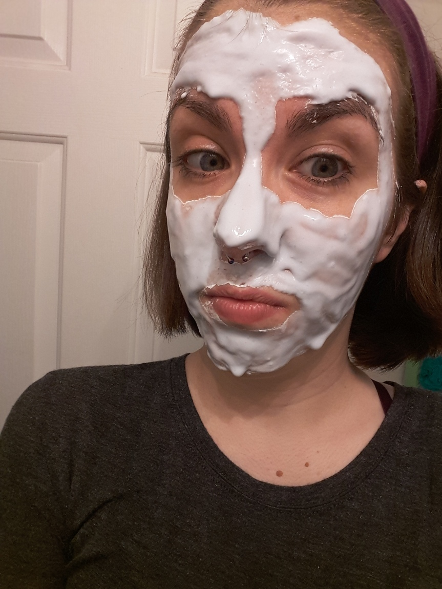 The mask applied to my face. It looks like white slime.
