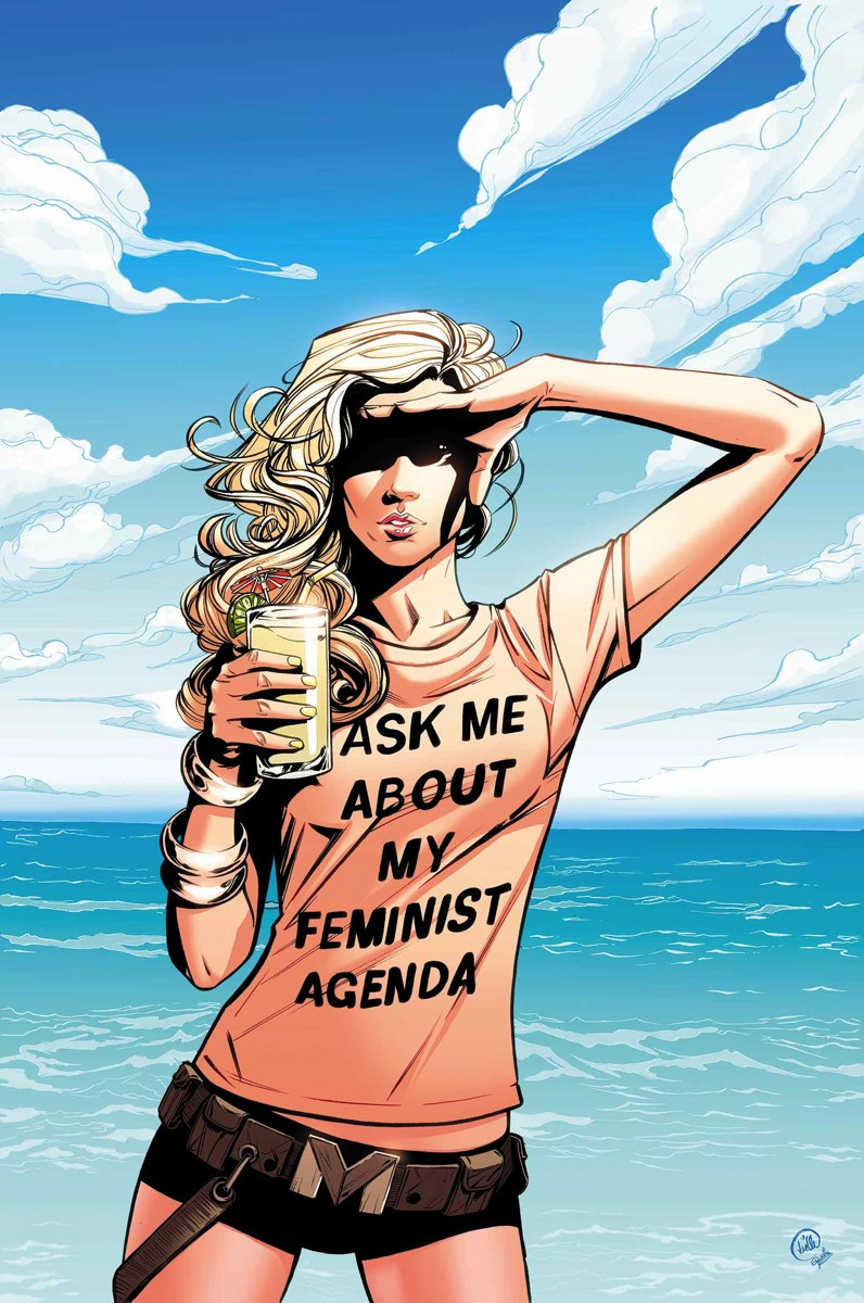 "The infamous Mockingbird cover. Mockingbird is standing on a beach with a shirt that says ""ASK ME ABOUT MY FEMINIST AGENDA"""