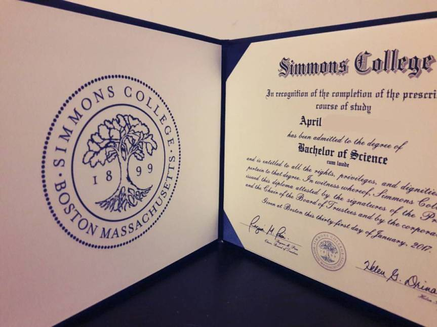 My diploma for a cum laude Bachelor of Science from Simmons College. Casual.