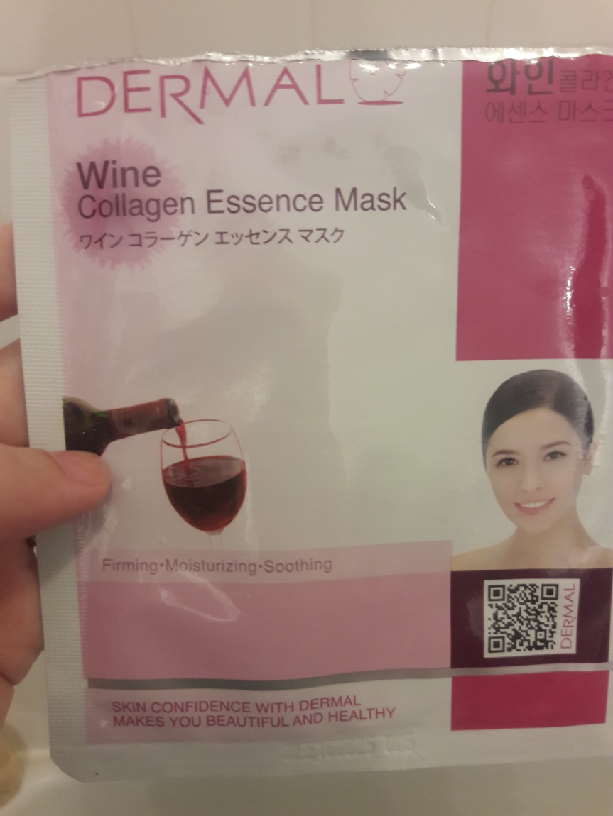 Image of Dermal Korea's Wine Collagen Essence Mask packaging. It says that it is firming, moisturizing, and soothing.