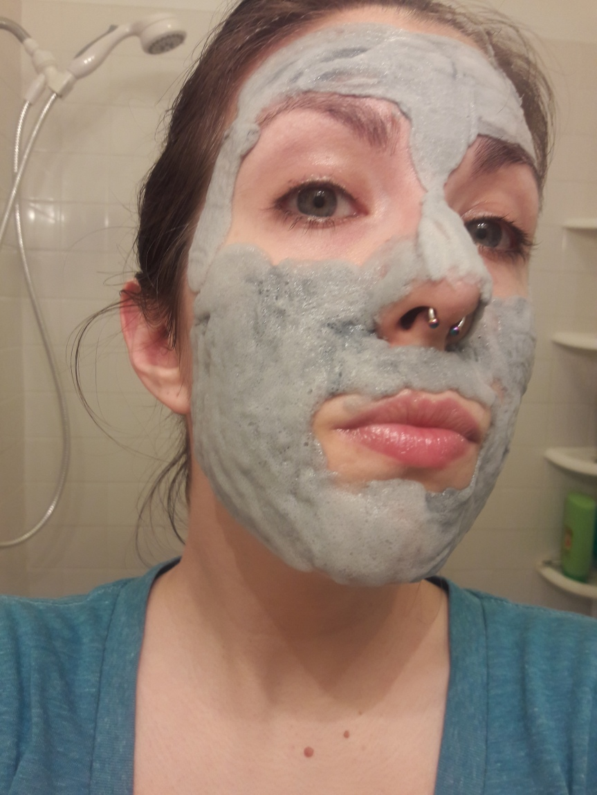 Elizavecca Milky Piggy Carbonated Clay Mask when first applied to my face.