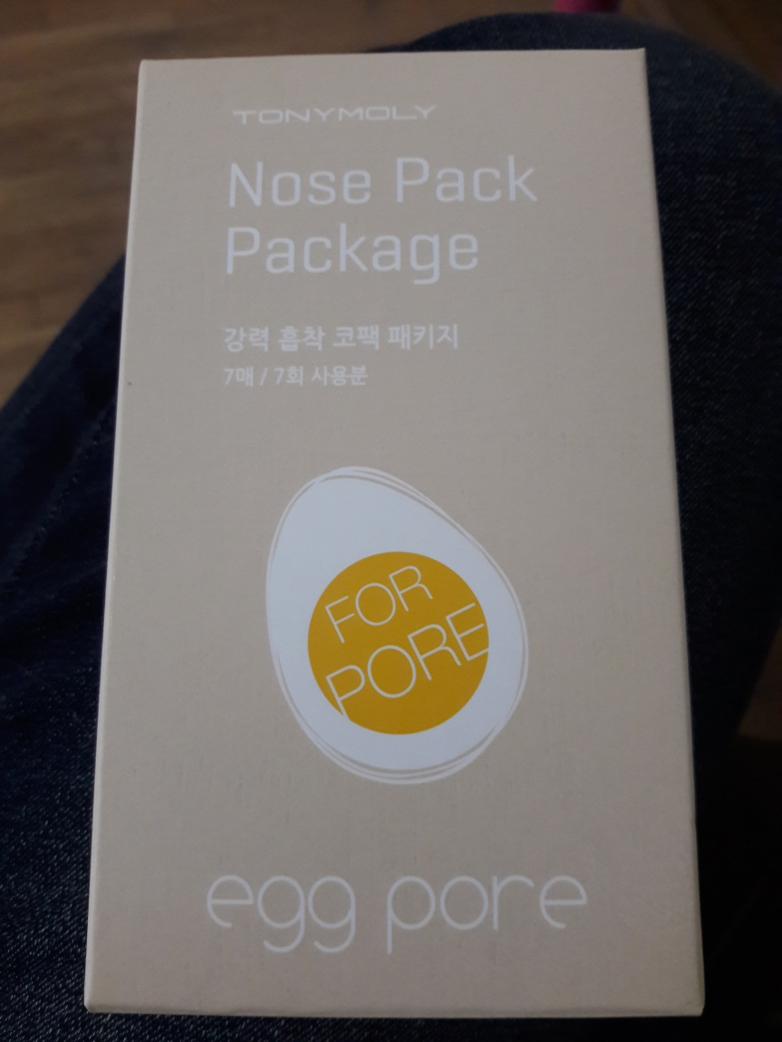 "Tonymoly Egg Pore Nose Pack Packaging. There's an egg on it, of course. The yolk says ""FOR PORE""."