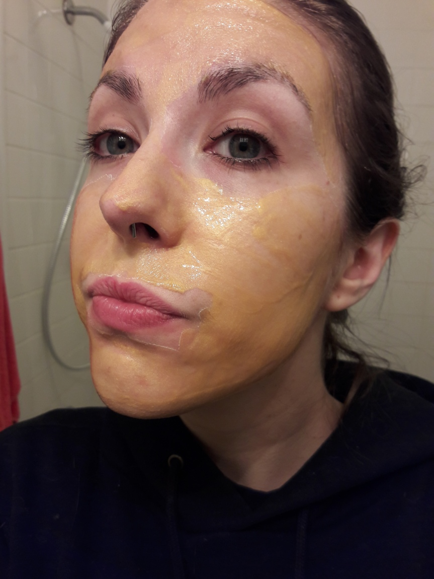 The kansipack when first applied to my face. It's a translucent gold color.
