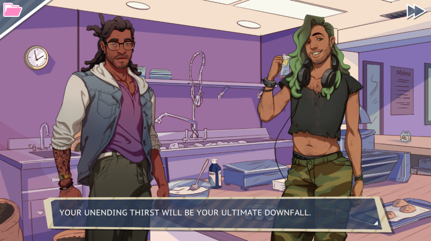 "Your dad is faced with two attractive men. The narration appropriately exclaims that ""YOUR UNENDING THIRST WILL BE YOUR ULTIMATE DOWNFALL"""