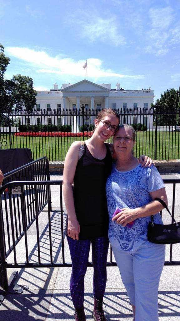 Picture of my mom and I in front of the White House. I'm wearing the purple Bitch Planet leggings and they are awesome.