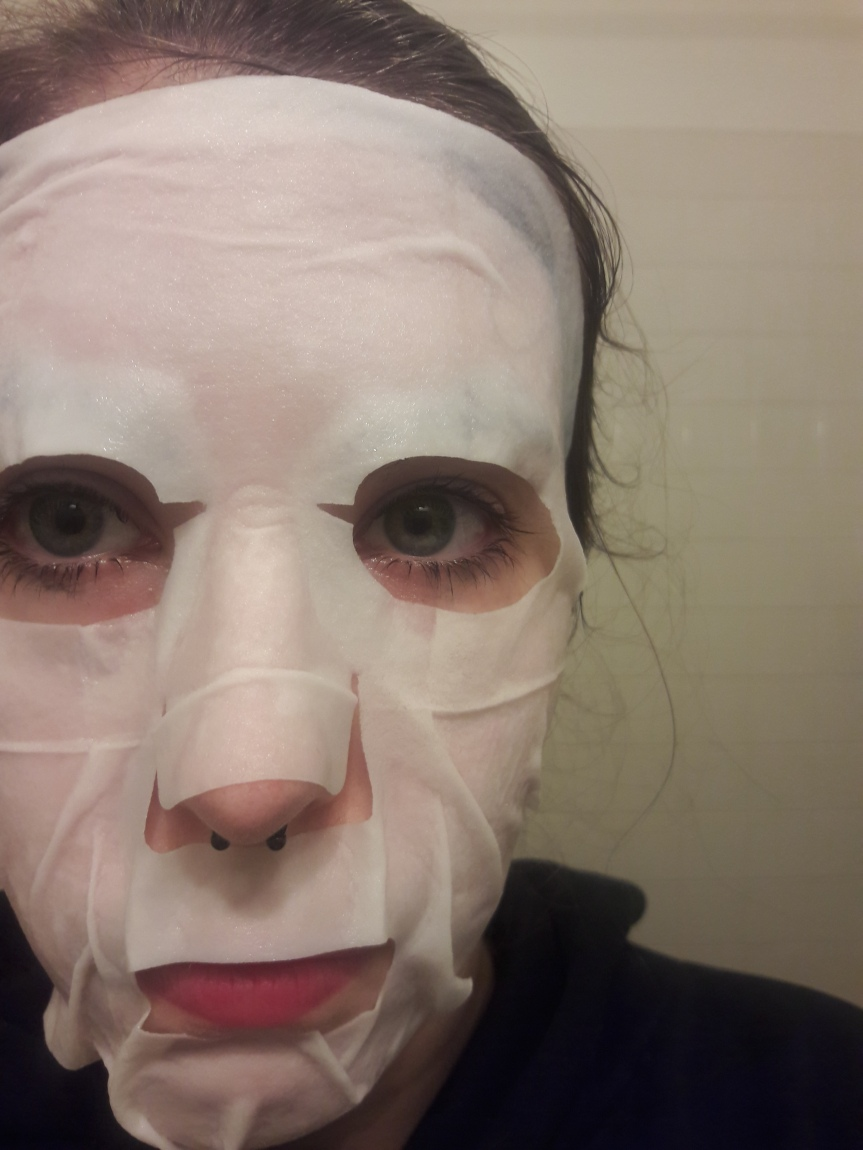 Image of me wearing the Manefit Beauty Planner Mask in Lily. It's a much thicker sheet than the first one.