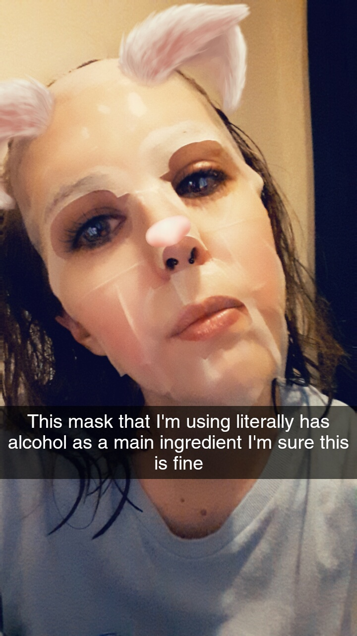 "Snapchat mouse image of me wearing the Manefit Beauty Planner Mask in Mugwort. I've added text that says ""This mask that I'm using literally has alcohol as a main ingredient I'm sure this is fine."""