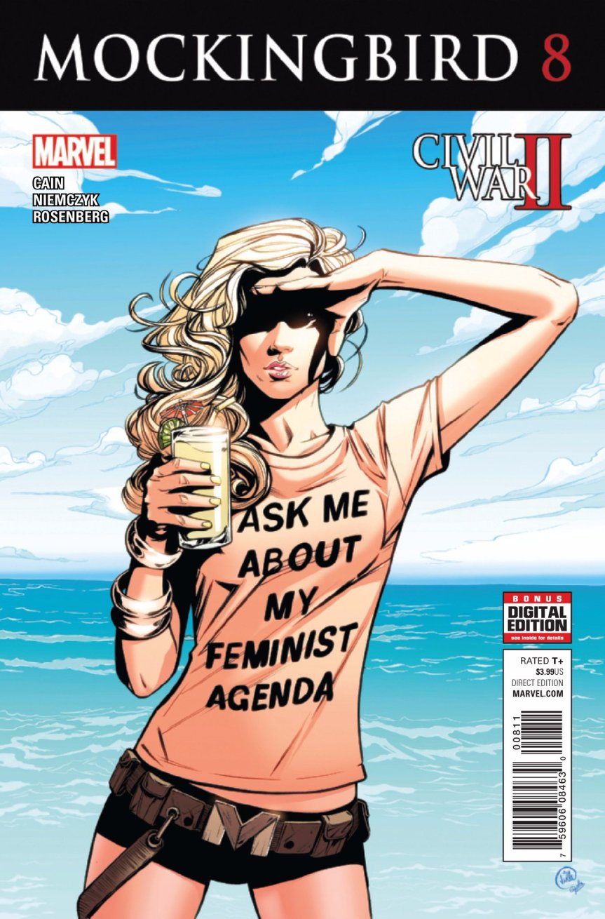 "Cover for Mockingbird 8, the cover that broke men on Twitter. Mockingbird stands on a beach, shielding her face from the sun. She's wearing a shirt that says ""ASK ME ABOUT MY FEMINIST AGENDA"""