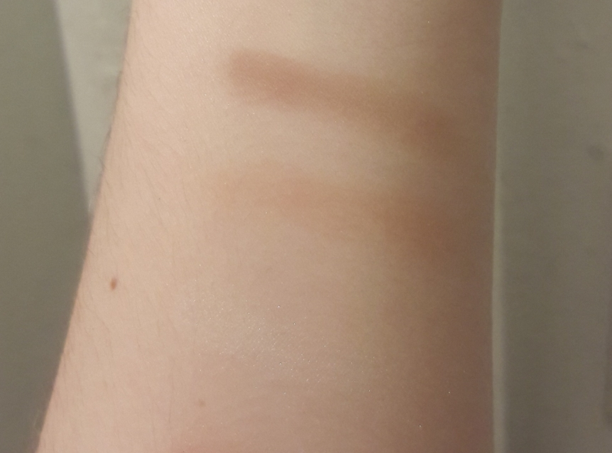 Arm swatches of the City Color Cosmetics contouring kit. You can't see the highlighter, but it does show up as a light shimmer in person.