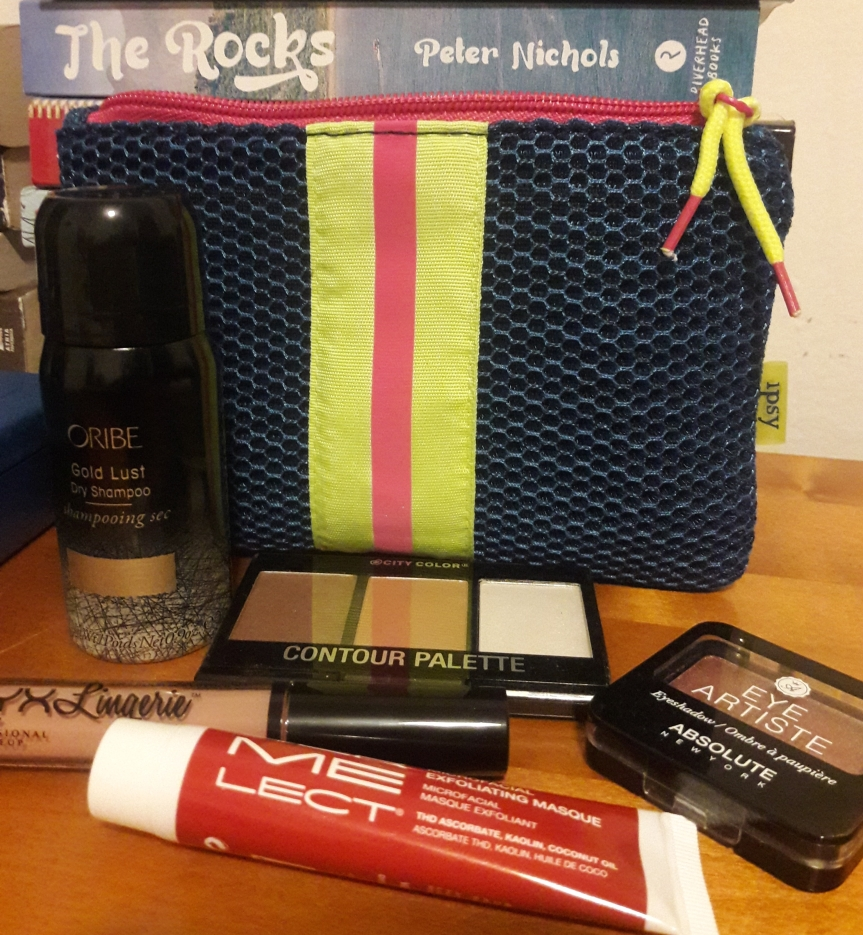 January 2018 ipsy bag and contents. This month's bag is a godawful blue mesh with a neon pink and yellow stripe down the middle.