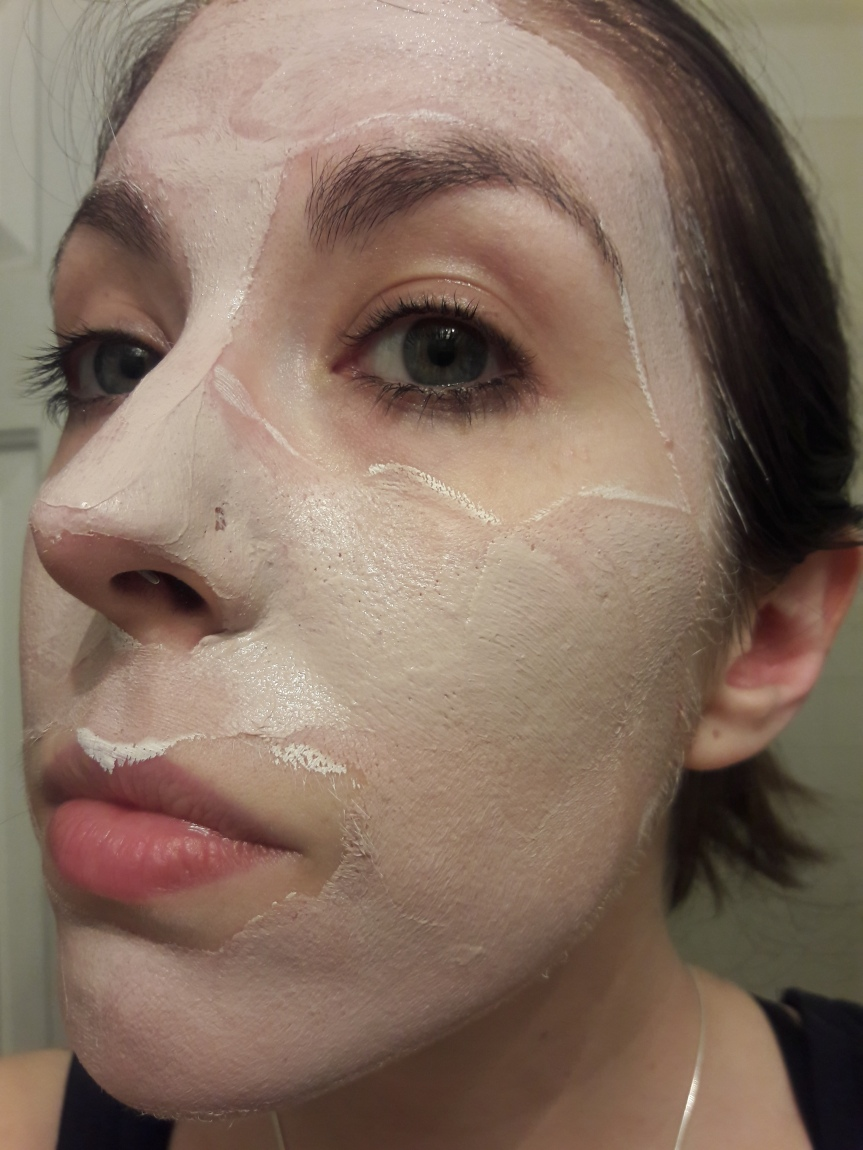 Image of the Sand & Sky pink clay mask on my skin. It is the slightest tint of pink before it dries.