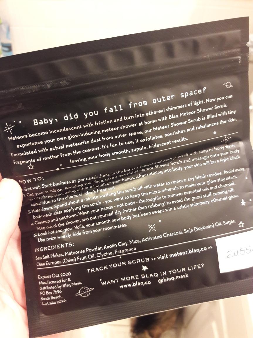 Picture of meteor shower by blaq sample from the February 2018 ipsy bag. My cat makes an appearance in the bottom, out of focus.