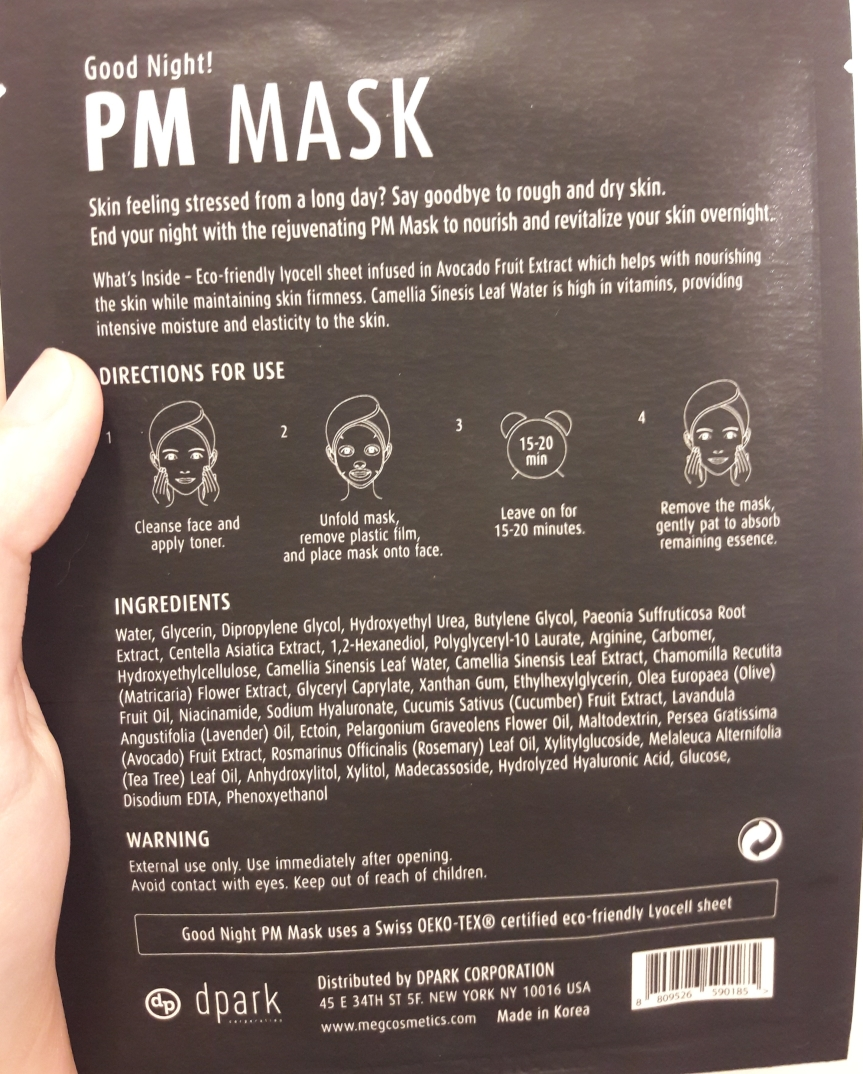 Meg Cosmetics PM mask, back packaging. I listed the interesting ingredients below.