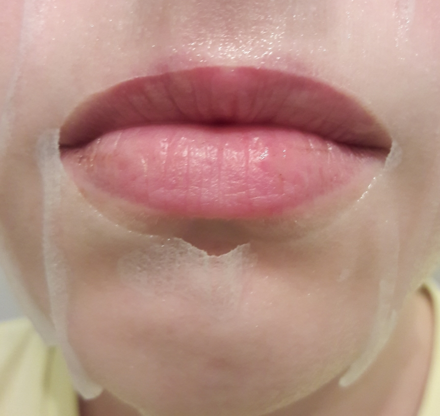 Image of the mouth hole for the Meg Cosmetics PM mask. It overlaps with my top lip, which means I eat some of this mask.