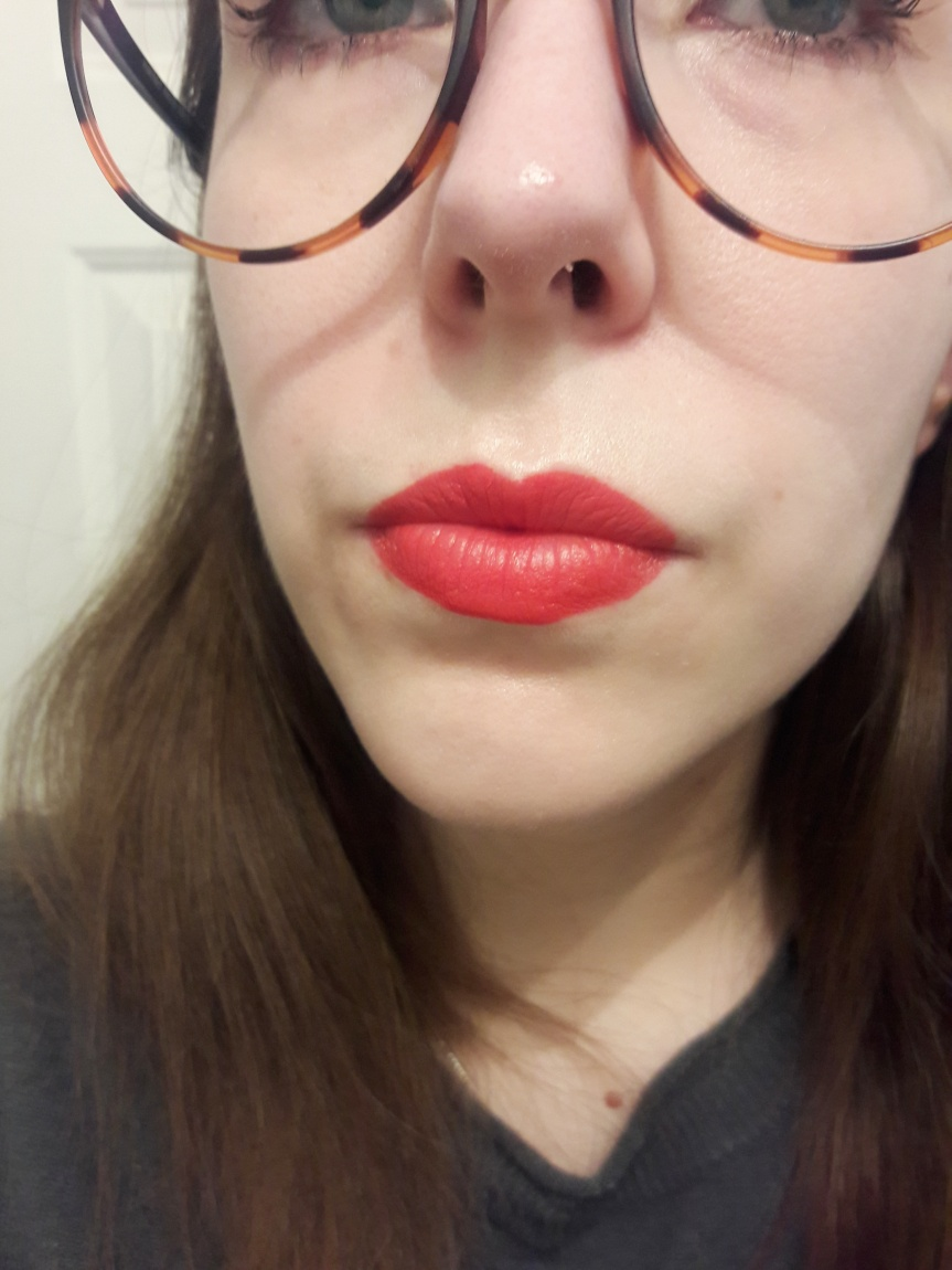 Image of me wearing Maybelline's Lip Studio Color Blur lipstick in Orange Ya Glad.