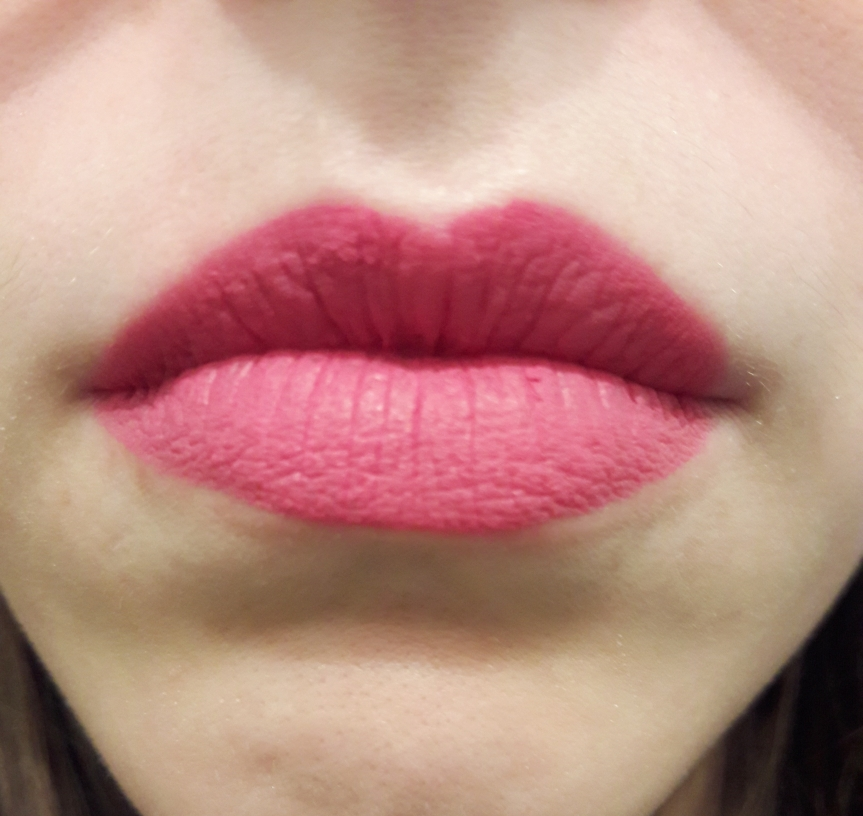 NYX Soft Matte Lip Cream in Milan on my lips. I've cleaned up the chunky bit and it looks nice.
