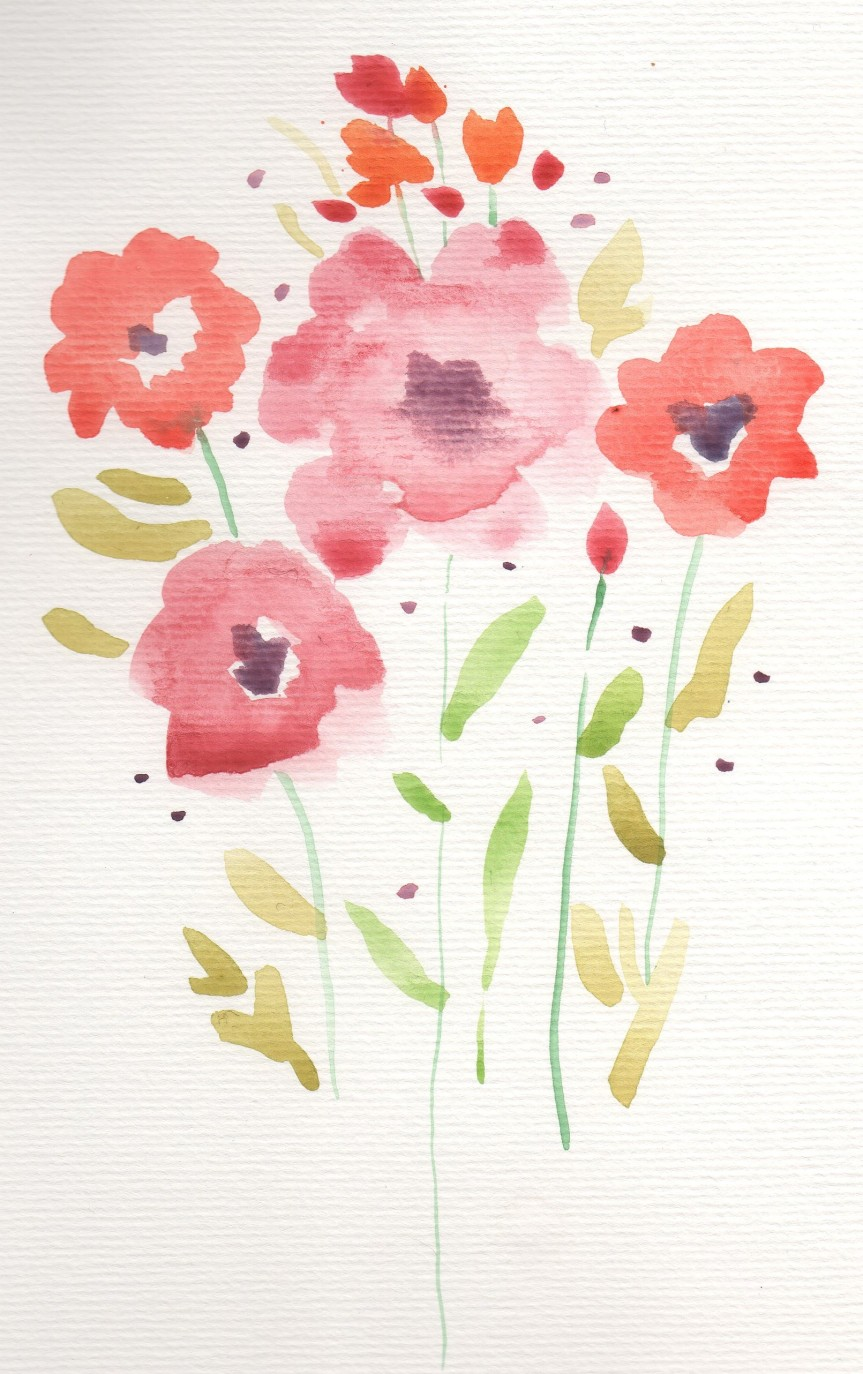 Watercolor painting of red flowers.