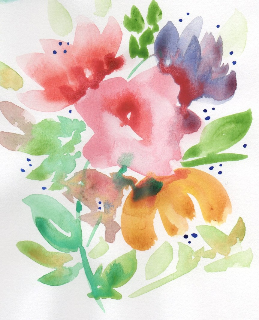 Watercolor painting of flowers.