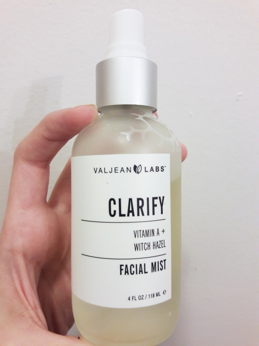 Valjean Labs facial mist in Clarify. Contains Vitamin A and witch hazel. Comes in a spray bottle.
