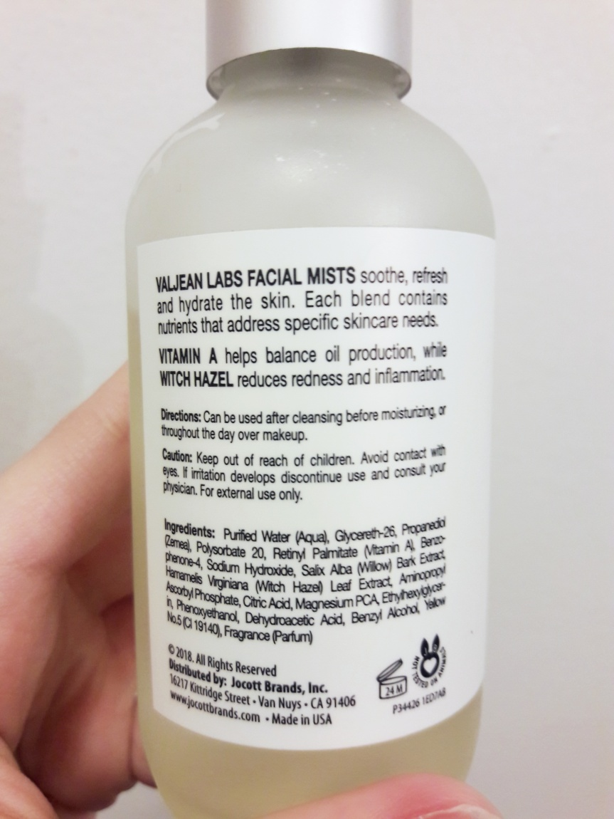 Back of the Valjean labs facial mist bottle. It was it soothes, refreshes, and hydrates the skin. It also tells you that Vitamin A helps balance oil production and that witch hazel reduces redness and inflammation. Use instructions are to use it after cleansing before moisturizing, or throughout the day over makeup.