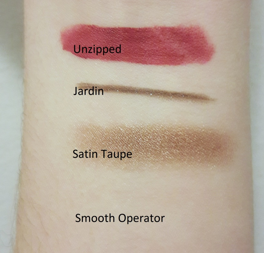 Swatches on my arm with no flash. You can't see the tarte cosmetics finishing powder.
