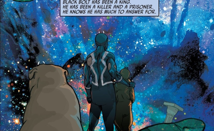 Black Bolt, his very large dog, and a child stand in front of a galaxy landscape. Text reads