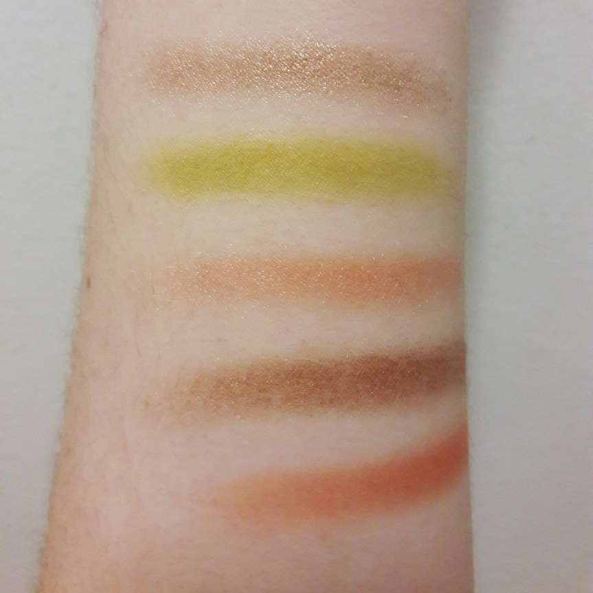 Pacifica Tomboy Vibes palette finger swatches without flash.