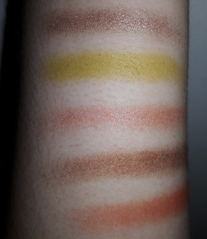 Pacifica Tomboy Vibes palette finger swatches with flash.