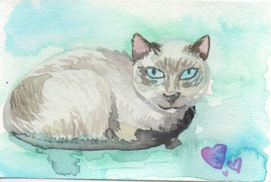 Watercolor painting of a Siamese cat on a blue background.