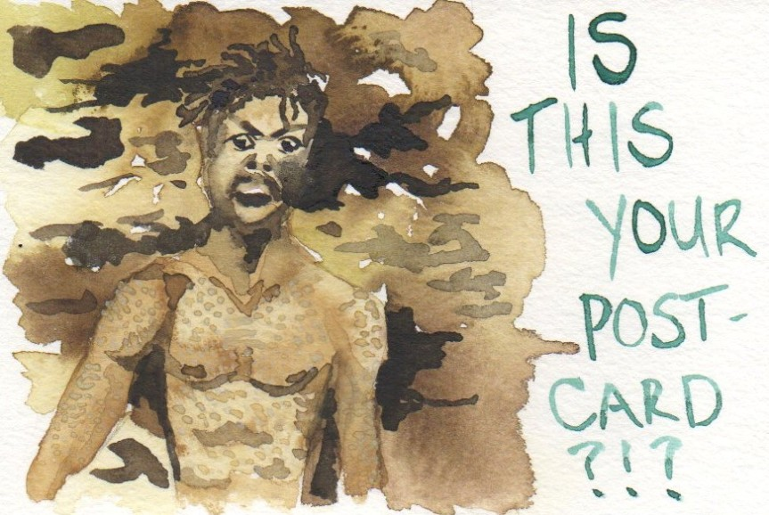 "Watercolor painting of Killmonger from Marvel's Black Panther movie. It says ""IS THIS YOUR POSTCARD?"""
