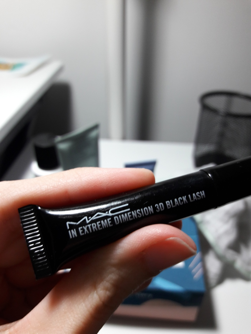 MAC Extreme Dimension 3D Black Lash. They sent this in a little squeezy tube instead of a normal bottle. It's black (surprise) with white letters.